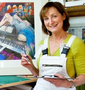 Close-up of Angela at work